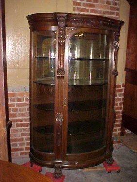 213 Oak Curved Glass China Cabinet W Lion Heads Amp Feet