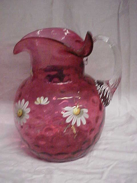 10: Victorian Cranberry reverse thumbprint water pitche