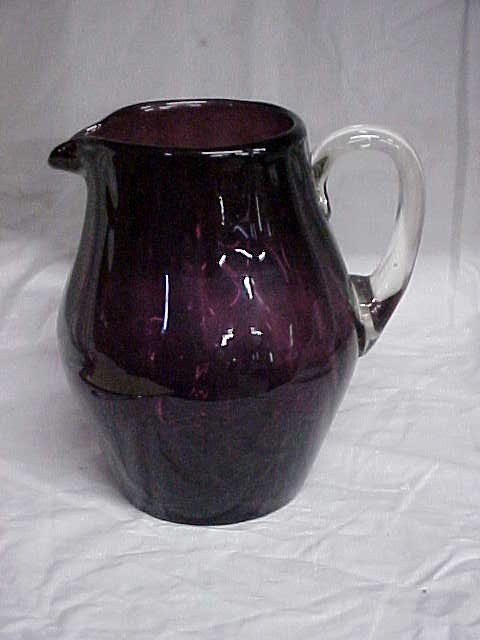 13: Early Amerthyst water pitcher w/clear applied handl