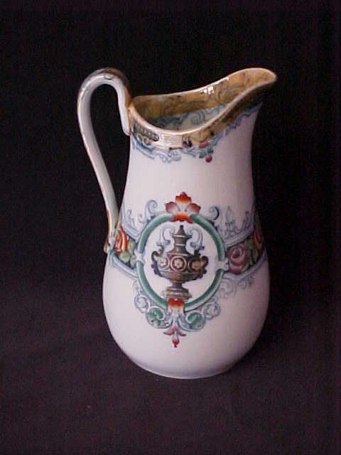 1: 1800's Porcelain pitcher Venetran w/cobalt decoratio