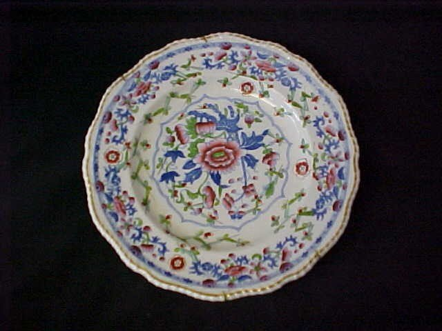 """2: 1800's Hand painted decorated 10"""" plate w/markings."""