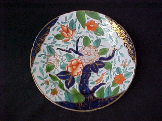 7: England semi porcelain hand decorated plate 1800's