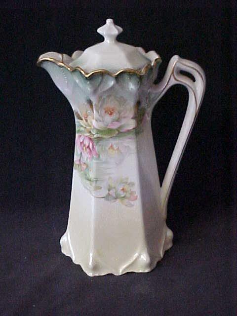 15: Germany signed Porcelain lidded pitcher floral patt