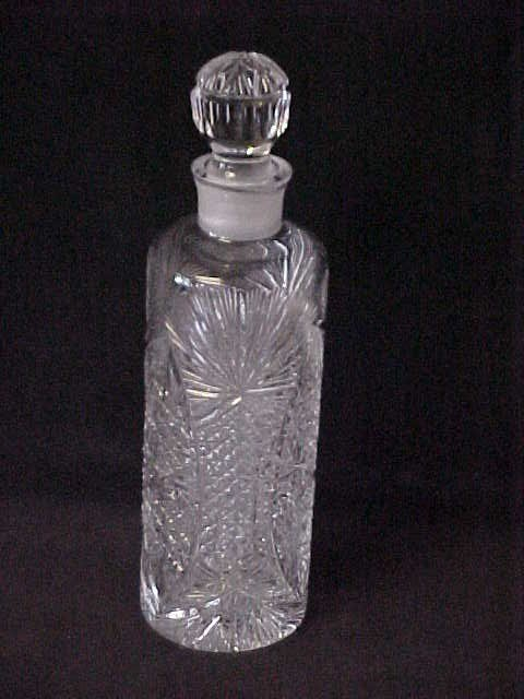 """22: Early 11-1/2""""tall cut glass crystal bottle w/stoppe"""
