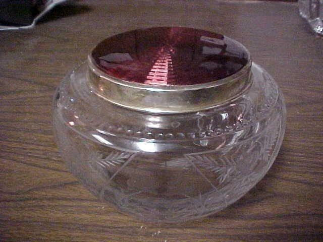 96: Rare signed Faberge' crystal & silver jar w/enamel.