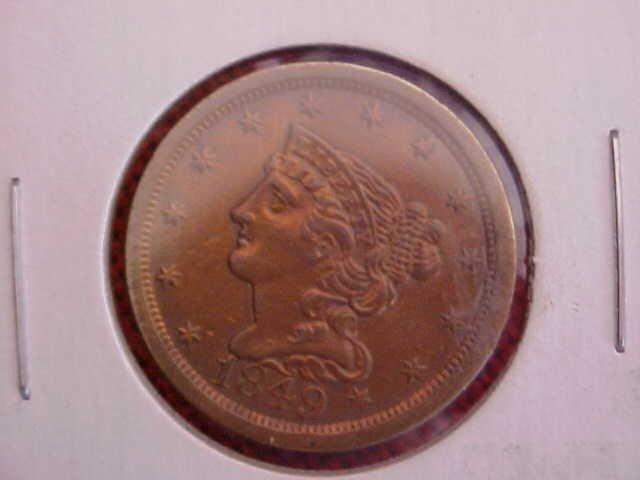 29: (160) 1849 UNC Half cent
