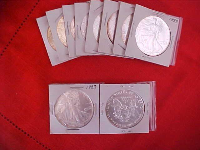 39: (163) Lot of 10 1991,92 & 93 Liberty Silver Dollars