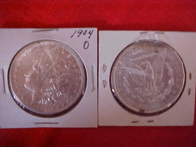 45: (183) Lot of 2 1904-O Dollars