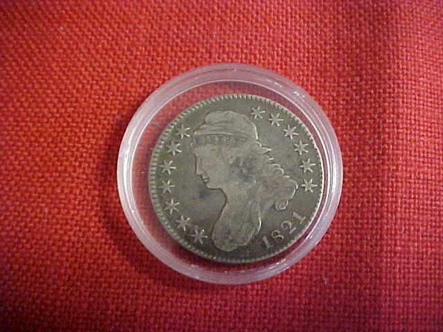 101: 1821 50 cent Bust Coin