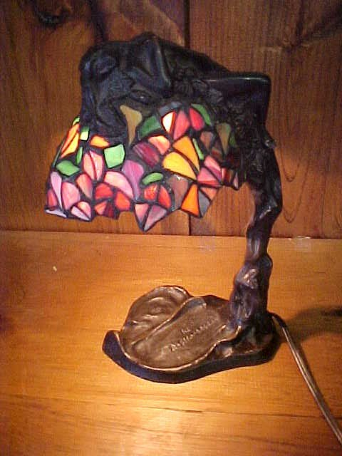 1: Small bronze naked/nude lady leaded glass shade lamp