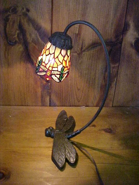 2: Dragonfly-base Desk Lamp Tiffany style leaded glass
