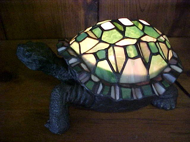 3: Turtle Slag Glass Lamp Tiffany style leaded glass