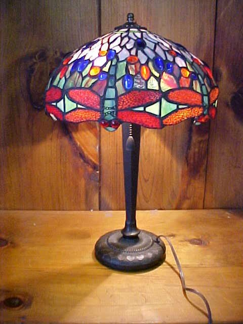 5: Medium Tiffany Style  Leaded Glass Dragonfly Lamp