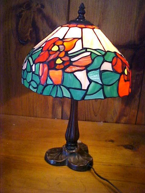 8: Small Tiffany Style Leaded Glass Rose Design Lamp