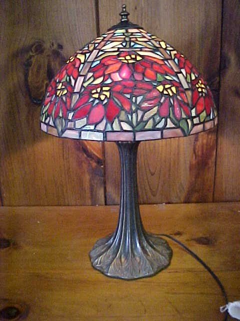 9: Medium Tiffany Style  Poinsetta Design Lamp
