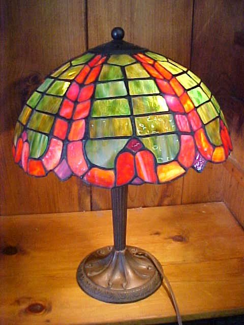 12: Large Green/Red  Tiffany Style Leaded Glass Lamp