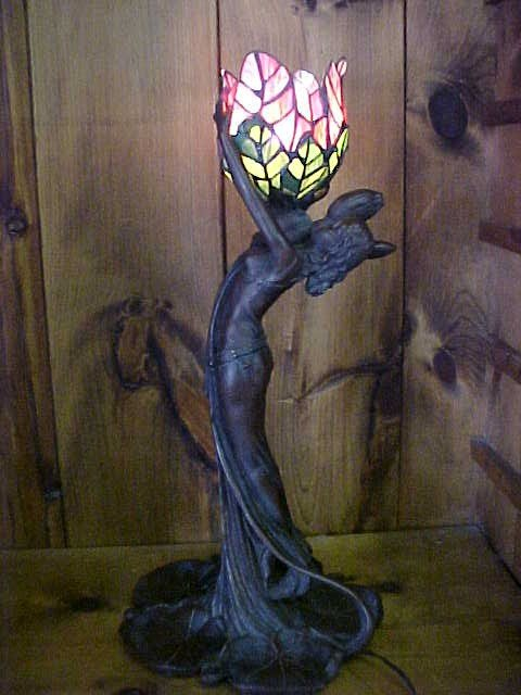 13:  Tulip Tiffany Style Lamp w/ bronze Lady Base