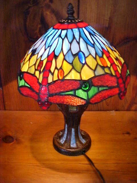 15: Small Dragonfly Tiffany Style Leaded  Glass Lamp
