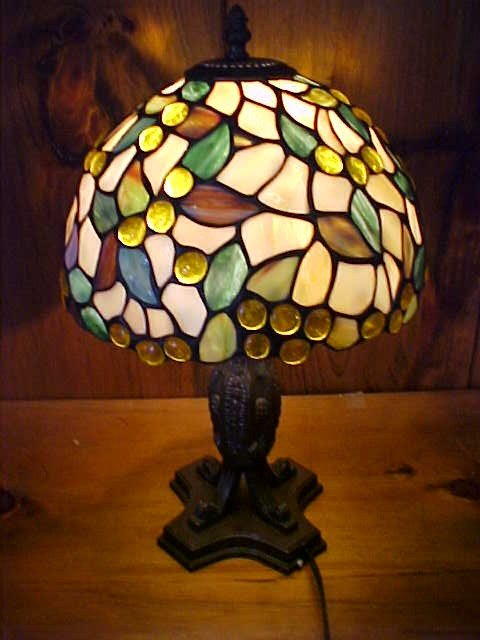 19: Small Fall Colored Tiffany Style Leaded  Glass Lamp