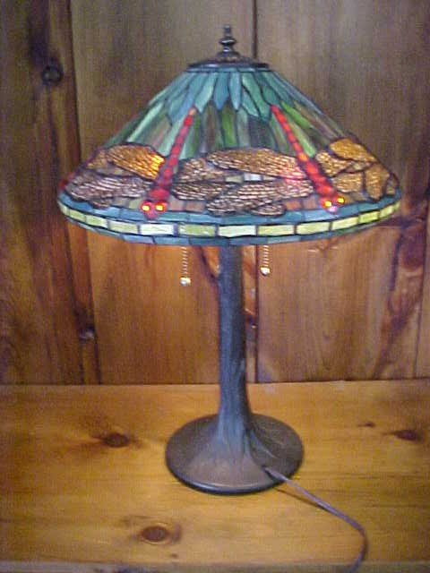 20: Medium Dragonfly  Tiffany Style Leaded Glass Lamp