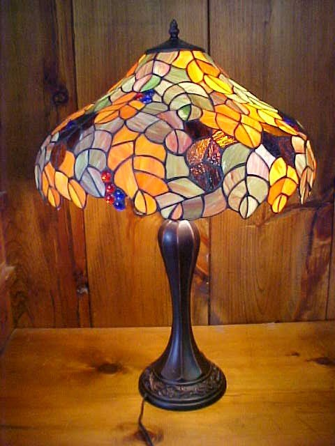 21: Large Fall Colored Tiffany Style Leaded Glass Lamp