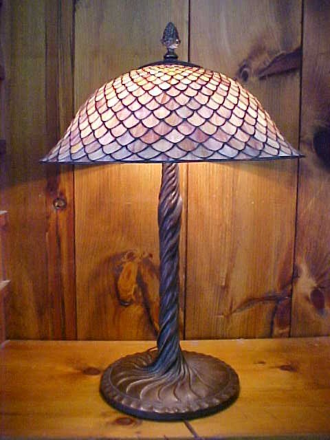 22: Large Purple Toned  Tiffanny Style  Lamp