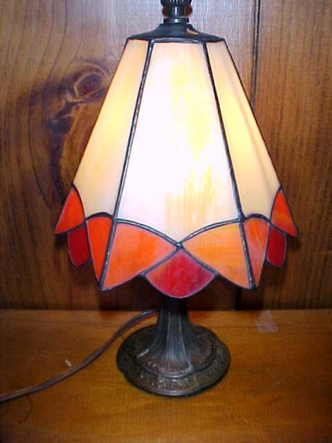 24: Small Octagon Shaped Tiffany Style  Glasss Lamp