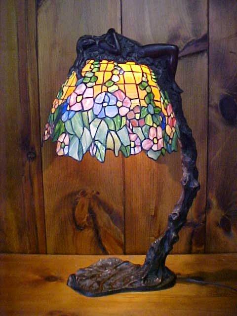 Lg. Naked Lady Tiffany Style Lamp E. Thomasson