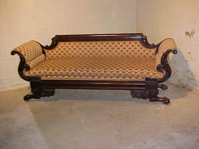 50: Federal Period Empire sofa w/clawfeet