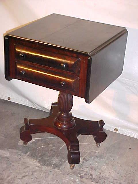 4: Period Empire Mahogany 2 drawer work stand.