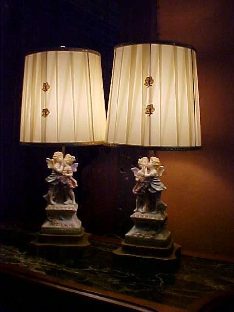 8: Pair Old Paris Angel porcelain lamps.