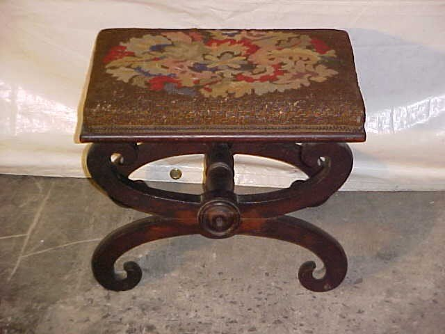 11: Period Empire needlepoint foot stool.