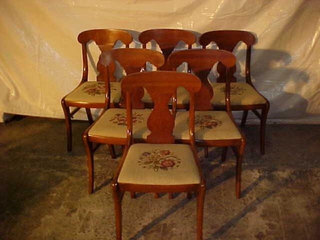 20: Set of 6 Empire Cherry diningroom chairs w/needlepo