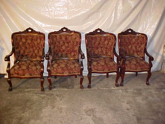 22: Set of 4 outstanding solid mahogany arm chairs rest