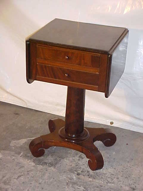 23: Period Empire 2 drawer work stand w/drop sides.