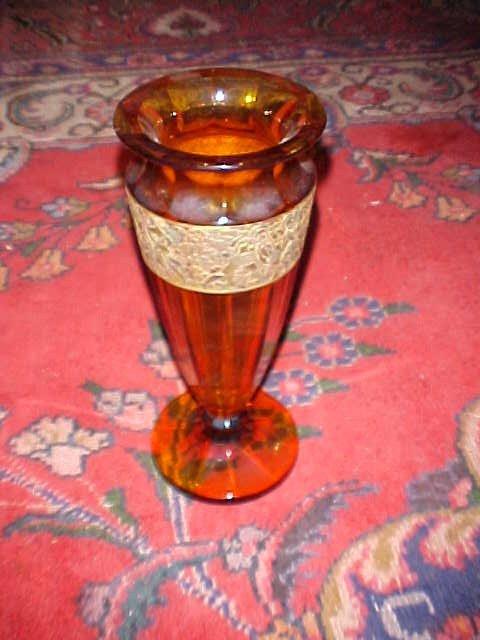 21: Large signed Moser glass amber vase (damaged).