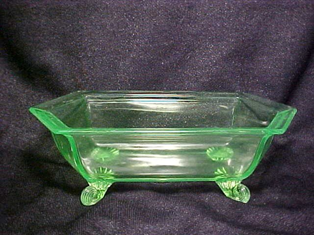 1001: Anchor Hocking vaseline glass footed dish.