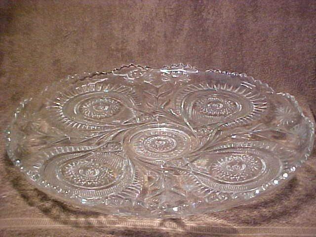 1003: Large pattern glass punch bowl set w/cups & platt - 2