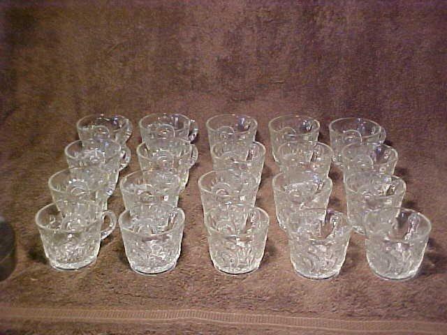 1003: Large pattern glass punch bowl set w/cups & platt - 5