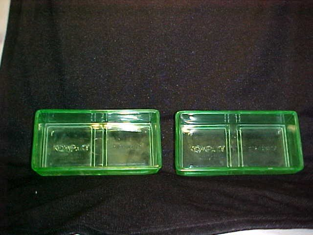 1012: Pair Optic Hex vaseline glass refrigerator trays.
