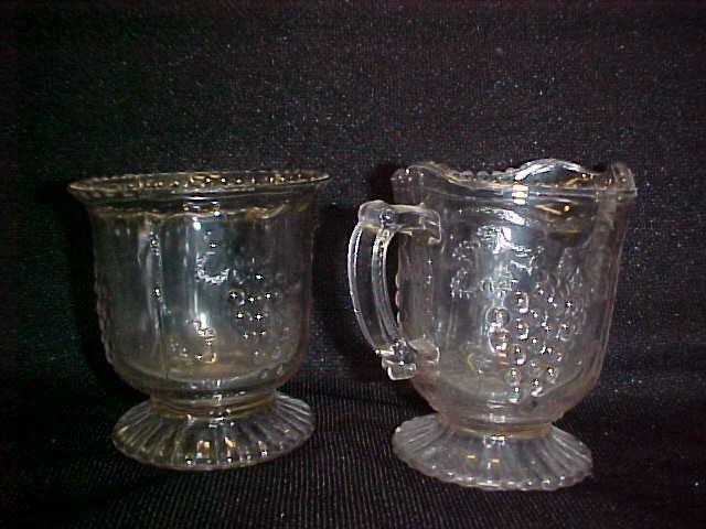 1013: U.S. Glass press pattern glass grape. Sugar & cre