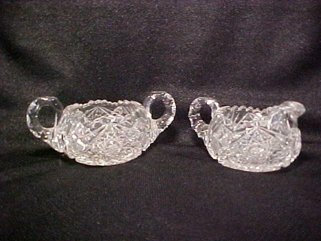 1014: Brilliant period cut glass sugar & creamer set.