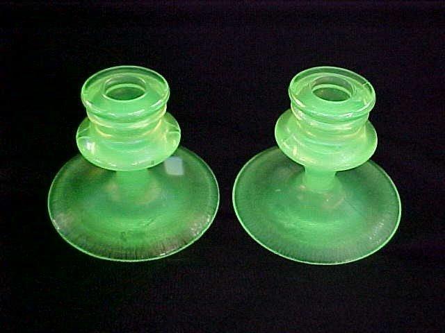 1018: Pair Fenton Vaseline carnival glass candle sticks