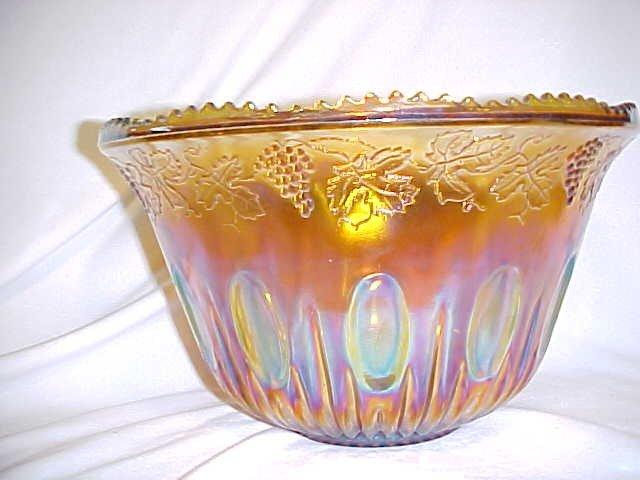 "1020: Indiana Glass ""Harvest"" Merigold/Amber Carnival p"