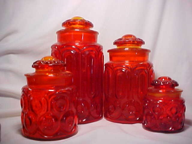 """1023: Amberina 4 pc cannister set """"Moon & Star""""."""