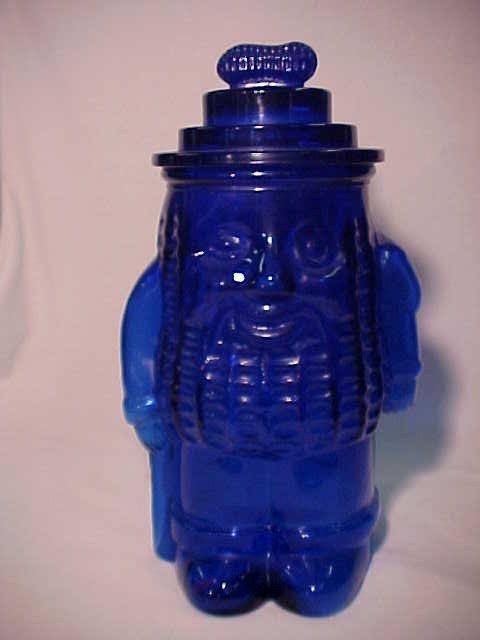 1122: U.S. Glass Co. Cobalt blue Peanut man Cookie jar.