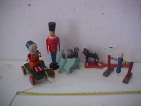 7: Lot of 5 various early wooden toys & Misc items.