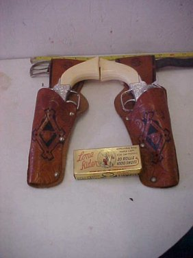 Pony Boy Six Shooter Pistols W/leather Holster & Ca