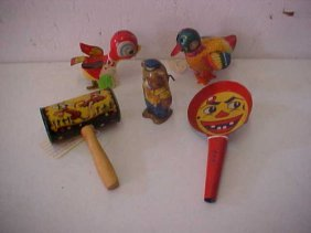 Lot Of 5 Early Metal Windup Toys & Party Favors.
