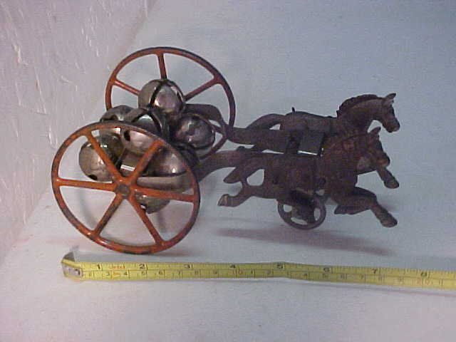 14: Victorian cast iron horse team pulling cart w/bells